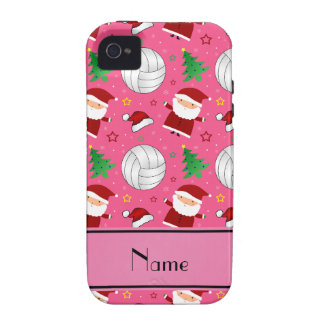 Custom name pink volleyball christmas pattern iPhone 4 covers