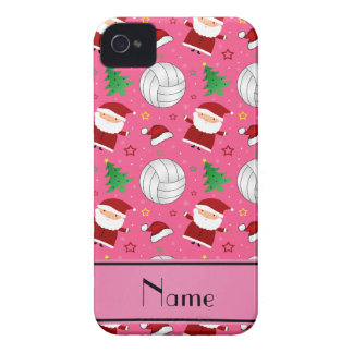 Custom name pink volleyball christmas pattern Case-Mate iPhone 4 case