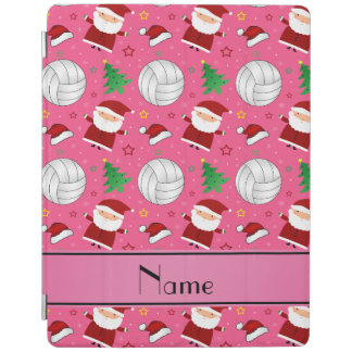Custom name pink volleyball christmas pattern iPad cover
