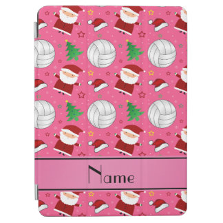 Custom name pink volleyball christmas pattern iPad air cover