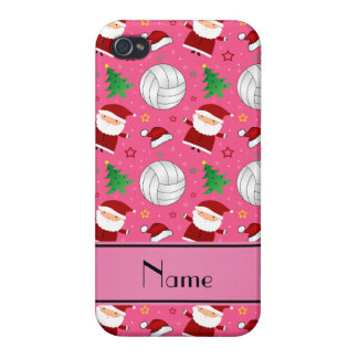 Custom name pink volleyball christmas pattern iPhone 4 case