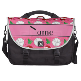 Custom name pink volleyball christmas pattern commuter bag