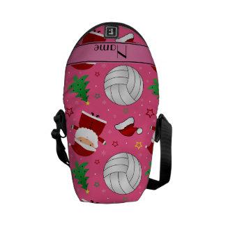 Custom name pink volleyball christmas pattern messenger bag