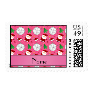Custom name pink volleyball christmas pattern stamps
