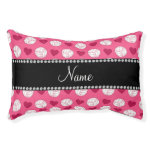 Custom name pink volleyballs and hearts small dog bed