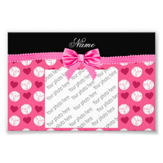 Custom name pink volleyballs hearts and bow photographic print