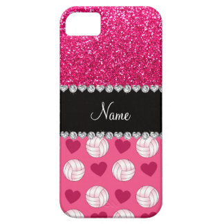 Custom name pink volleyballs rose pink glitter iPhone 5 cases