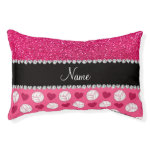 Custom name pink volleyballs rose pink glitter small dog bed