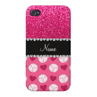 Custom name pink volleyballs rose pink glitter iPhone 4/4S covers