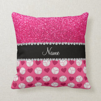 Custom name pink volleyballs rose pink glitter pillows