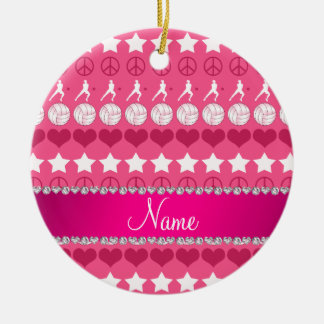 Custom name pink volleyballs stars hearts peace ceramic ornament