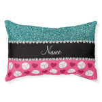 Custom name pink volleyballs turquoise glitter small dog bed