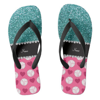 Custom name pink volleyballs turquoise glitter flip flops