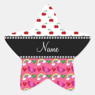 Custom name pink watermelons rainbows cherry star stickers