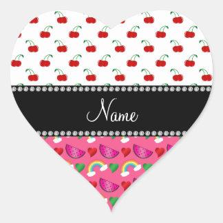 Custom name pink watermelons rainbows cherry heart sticker