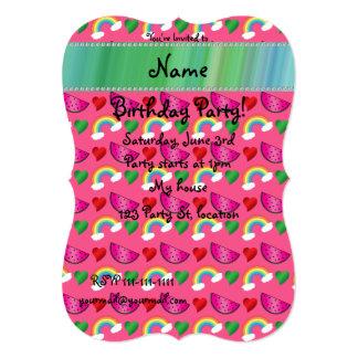 Custom name pink watermelons rainbows hearts custom invitation