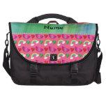 Custom name pink watermelons rainbows hearts laptop commuter bag