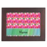 Custom name pink watermelons rainbows hearts memory boxes