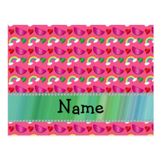 Custom name pink watermelons rainbows hearts post card