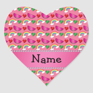 Custom name pink watermelons rainbows hearts heart stickers