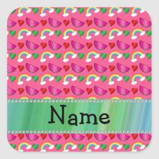 Custom name pink watermelons rainbows hearts square stickers
