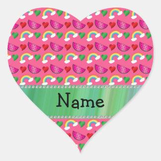 Custom name pink watermelons rainbows hearts sticker