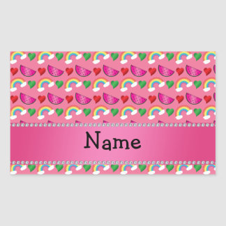 Custom name pink watermelons rainbows hearts stickers