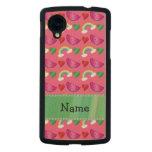 Custom name pink watermelons rainbows hearts carved® maple nexus 5 slim case