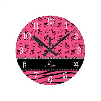 Custom name pink zebra stripes pink music notes round clock
