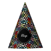 Custom Name Pinwheel Pattern Black Party Hat