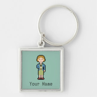 Custom Name Pixel Female Reporter Silver-Colored Square Keychain