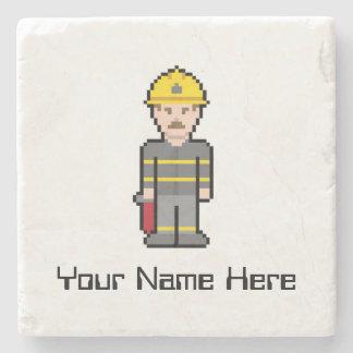 Custom Name Pixel Firefighter Stone Coaster