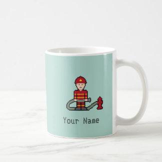 Custom Name Pixel Fireman Coffee Mug