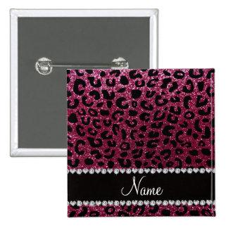Custom name plum purple glitter cheetah print 2 inch square button