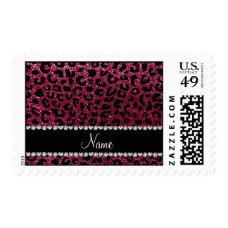 Custom name plum purple glitter cheetah print stamps