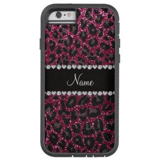 Custom name plum purple glitter leopard print tough xtreme iPhone 6 case