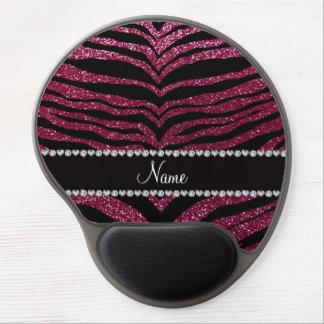 Custom name plum purple glitter tiger stripes gel mouse mats