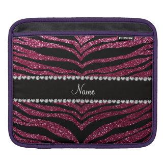 Custom name plum purple glitter tiger stripes iPad sleeves