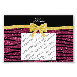 Custom name plum purple glitter zebra stripes bow photo print