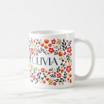 Custom Name Pretty Floral Red Colorful Girly Mug