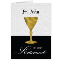 Custom Name Priest Retirement, Gold Chalice, on Bl Card