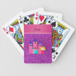 Custom name princess castle neon purple glitter bicycle playing cards
