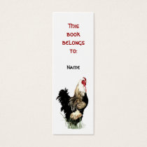 Custom Name Proud Farm Rooster Bookmark Mini Business Card