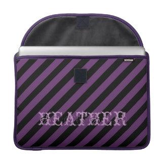 Custom Name Punky Goth Diagonal Stripes 15 Inch MacBook Pro Sleeve