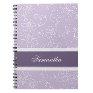 Custom Name Purple and White Floral Notebook