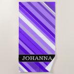 [ Thumbnail: Custom Name + Purple and White Striped Pattern Beach Towel ]