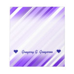 [ Thumbnail: Custom Name; Purple and White Striped Pattern Notepad ]