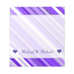 [ Thumbnail: Custom Name + Purple and White Striped Pattern Notepad ]