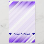 [ Thumbnail: Custom Name; Purple and White Striped Pattern Stationery ]