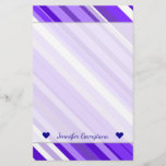 [ Thumbnail: Custom Name + Purple and White Striped Pattern Stationery ]